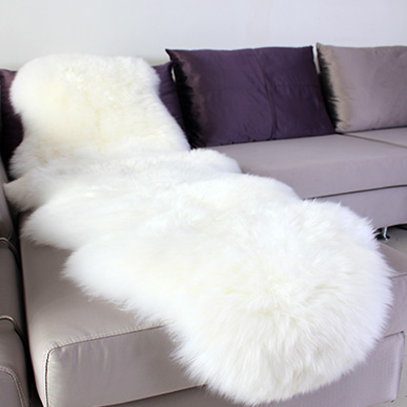 sheepskin rug chair cover pad carpet plain skin fur fluffy area rugs for bedroom faux fur. Black Bedroom Furniture Sets. Home Design Ideas