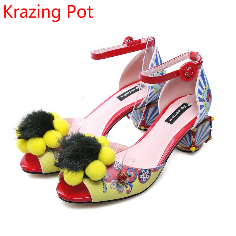 Superstar Mixed Color Patterns Flowers Print Brand Summer Shoes Peep Toe Med Heels Party Wedding Large Size Luxury Sandals L25 fashion mixed colors print luxury flowers superstar women brand buckle straps platform wedges chinese style summer sandals l27