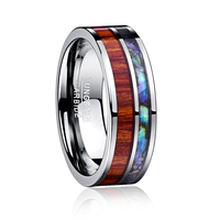 8MM width Crystal Tungsten Steel Ring Polished Wood Grain Man's Wedding Bands Male Rings