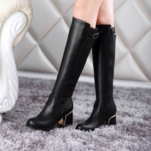 ФОТО Plus Size 34-43 New Knee High Boots Women Motorcycle Boots High Leg Riding Boots high Heel PU Leather Shoes free shipping