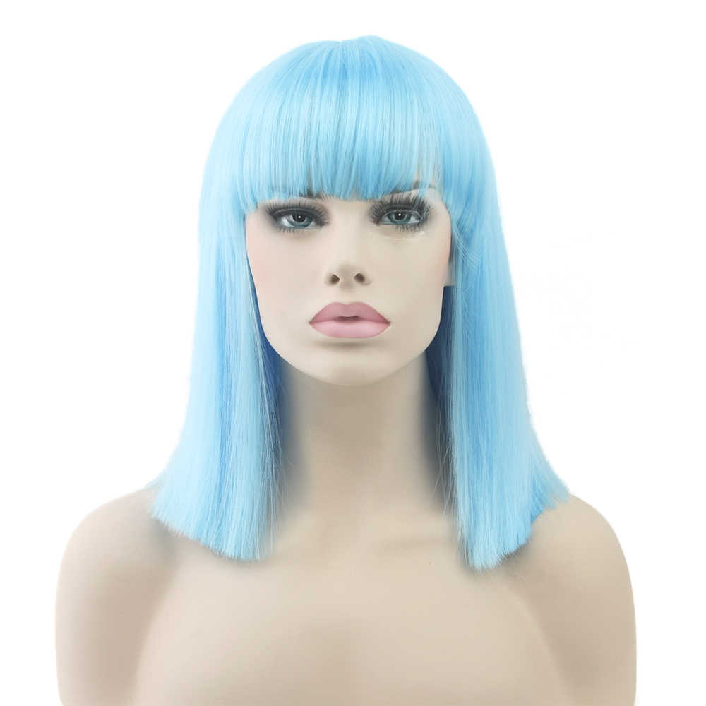 Soowee 8 Colors Synthetic Hair Heat Resistant Blue Black Color Hair Wig Party Straight Short Cosplay Wigs for Women