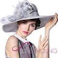 2017 Mujeres Vestido de Boda de la Playa Cóctel de la Tarde Del Partido de La Iglesia de Derby Sombreros para el Sol de Ala Ancha Cap Vintage Fedora Boinas 100% Poliéster