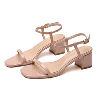 2019 Summer Hollow Women Sandals Thick High Heel Ankle Strap Fashion Sandal Female Party Shoes