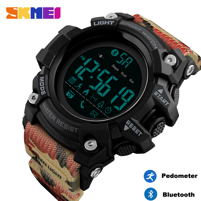 <font><b>Skmei</b></font> Smart Sports Calorie Pedometer Mens Watches Luxury Bluetooth Digital Clock Waterproof LED Wristwatch relogio inteligente image