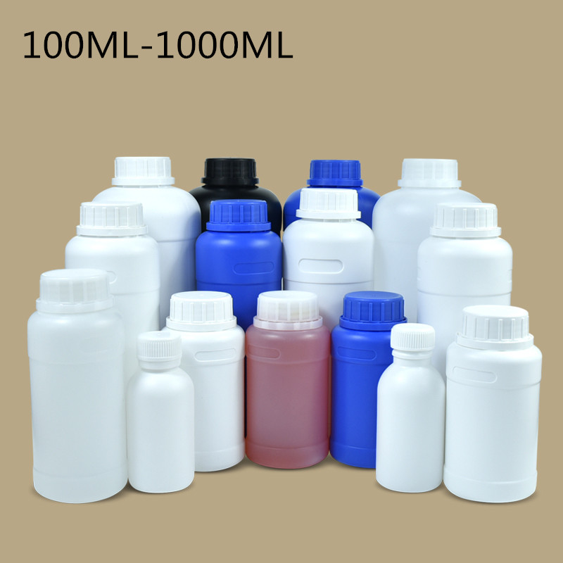 Round Cylinder HDPE Plastic Bottle With Screw-On Tamper Protection Lid 1 Piece