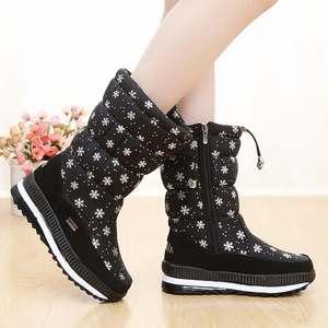 2a0d2121466b Waterproof Women boots 2018 New design snowflake pattern zipper winter snow  boots women keep warm villus botas women shoes