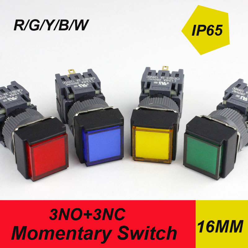 10pcs packing factory directly momentary switch HABOO 16mm reset waterproof push button switch 3NO+3NC