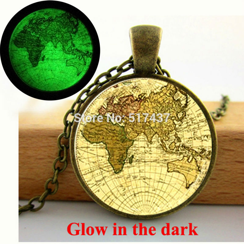 Glow in the Dark Necklace glass globe necklace Beige Mauve Green Old World Map Necklace glass cabochon necklace Glowing jewelry