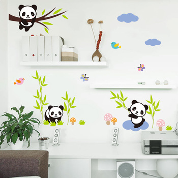 Cartoon Forest Panda bamboo Birds tree Wall Stickers For Kids room baby Nursery Room decor animals Wall decals mural art
