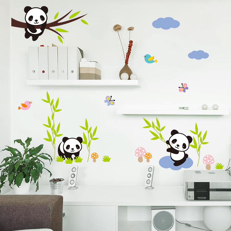Cartoon Forest Panda Bamboo Birds Tree Wall Stickers For Kids Room