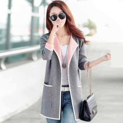 2019 новые осенние модные женские рубашки вязаный Открытый Длинный свитер очаровательных цветов блузка рубашка розовый светло-серый розовый WF498