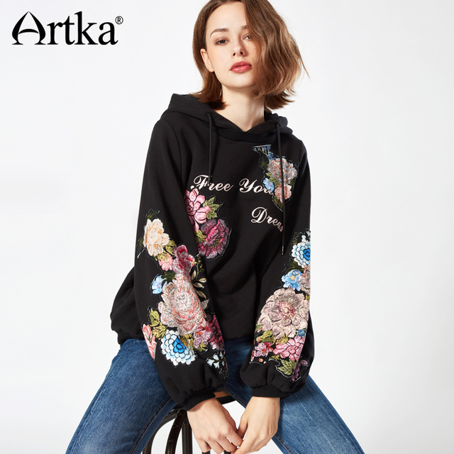 ARTKA 2018 Autumn &Winter Lantern Sleeve Vintage Flower Embroidery Pullover Hoodie with Hat VA10271D