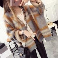 Autumn new arrival plus size stripe loose yarn sweater female women cardigan outerwear preppy style