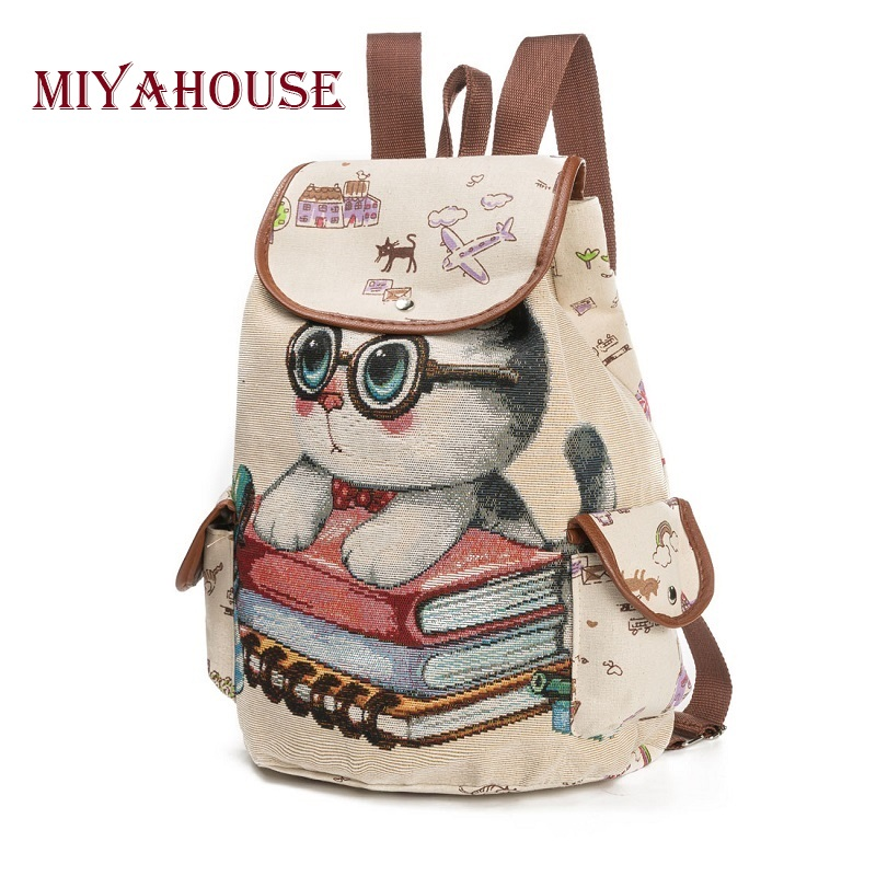 Canvas Backpack Cats Print Backpack For Teenage Embroidery Drawstring Backpacks Girls School Bags