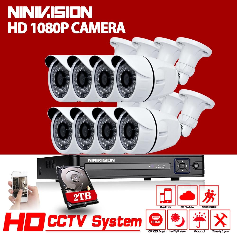 8CH CCTV System 1080N HDMI 1080P DVR 8PCS 1080P AHD CCD Waterproof Outdoor CCTV Camera Home Security System Surveillance Kits white bullet hd camera 8pcs 900tvl security outdoor waterproof camera 8ch ahd 1080p 960h cctv system 3g wifi dvr kit hdmi 1080p