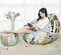 Cover only  No Filler- WITH STOOL ATTACHED bean bag chair, living room beanbag sofa furniture, pear shape footstool bean bag set