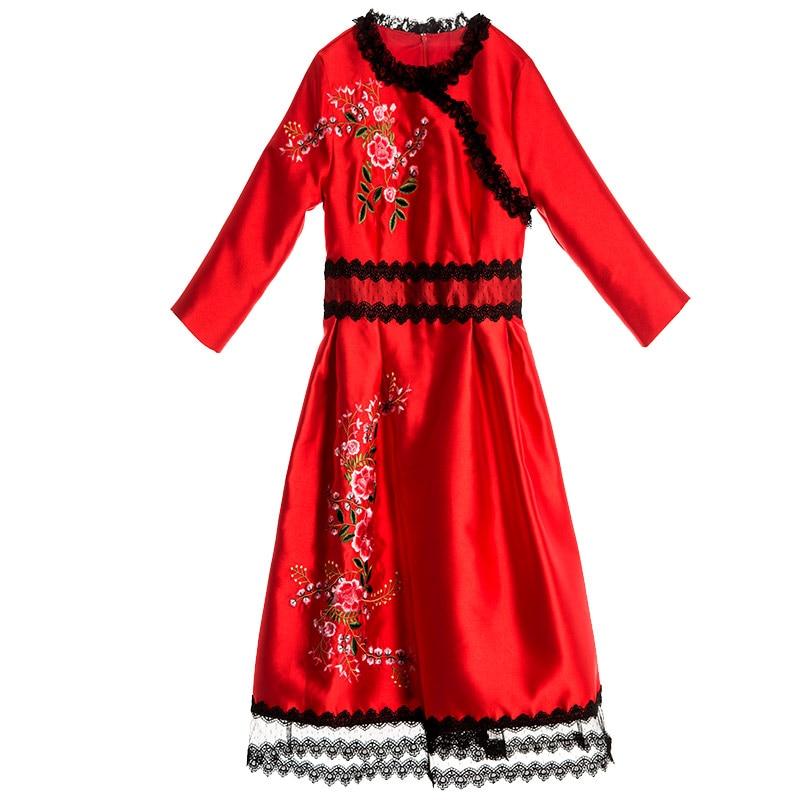 Dentelle Bal Green Broderie Robes Robe Ethnique Casual Work Cheongsam E7655 Patchwork De Vintage Party Automne Fleur Femmes red a6nEqxqY5