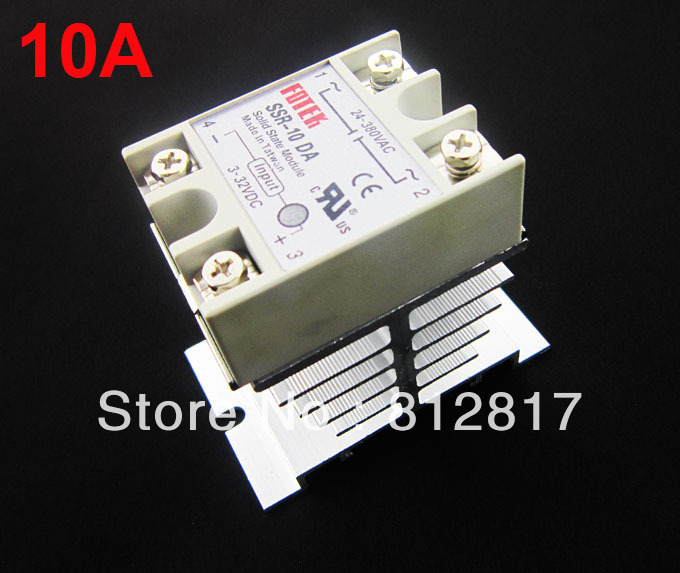 Single Phase Solid State Relay 10A /250V SSR Input 3-32VDC Output 24-380VAC + Aluminum Heat Sink Small Type Dissipation