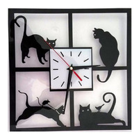Black Cats Animal Wall   Clock   Swinging Tail Sticker Kids Bedroom Office Decor Home Decorative