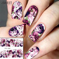 1 Sheet Purple Flower Full Wraps Nail Art Water Transfer Stickers Decals Beauty Nail Decor Watermark Nail Decals DIY STZ369