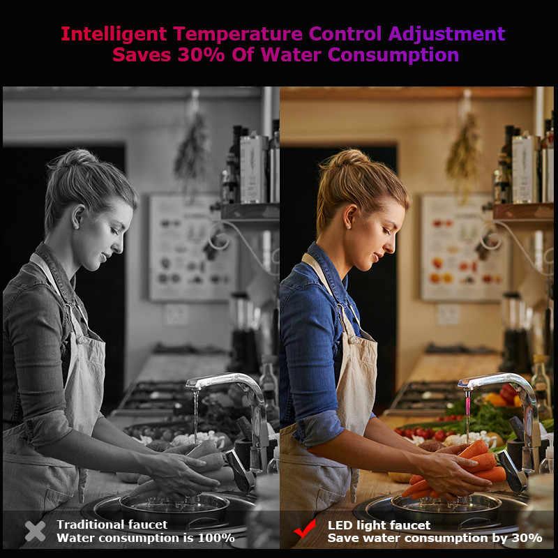 Czujnik Dropship niebieskie oświetlenie kuchni kran LED 7 zmiana kolorów Glow Water tap kran akcesoria oświetleniowe łazienka prysznic rozproszone