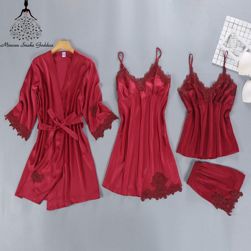4Pcs Sexy Women Silk Pajamas For Women Satin Sexy Sleepwear Set Women s Pajamas Pyjamas Homewear