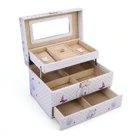 GENBOLI Strawberry/Butterfly Prints Durable PU Leather Jewelry Box Ring Necklace Earrings Organizer Storage Display Case
