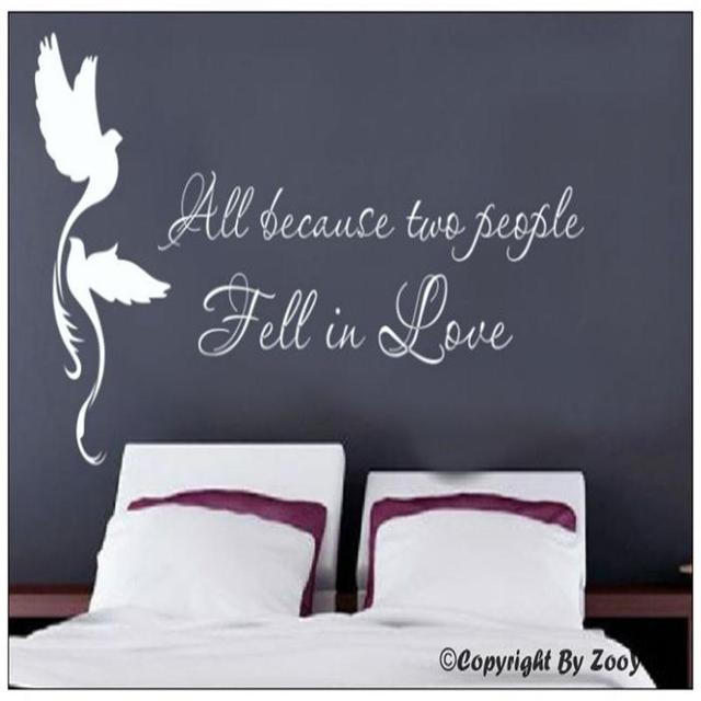 Decorative All Because Two People Fell In Love Birds Vinyl Quotes For Wedding Decoration Bedroom Wall