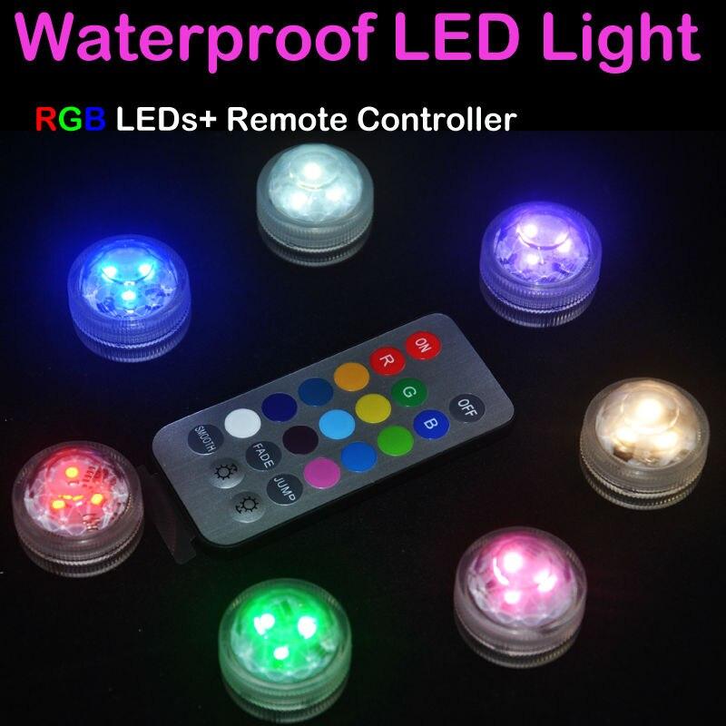 10 шт./лот Водонепроницаемый мини Батарея света RGB Чай свет внешней стороны света идеи цветочный света с дистанционным Для свадебной вечерин... ...