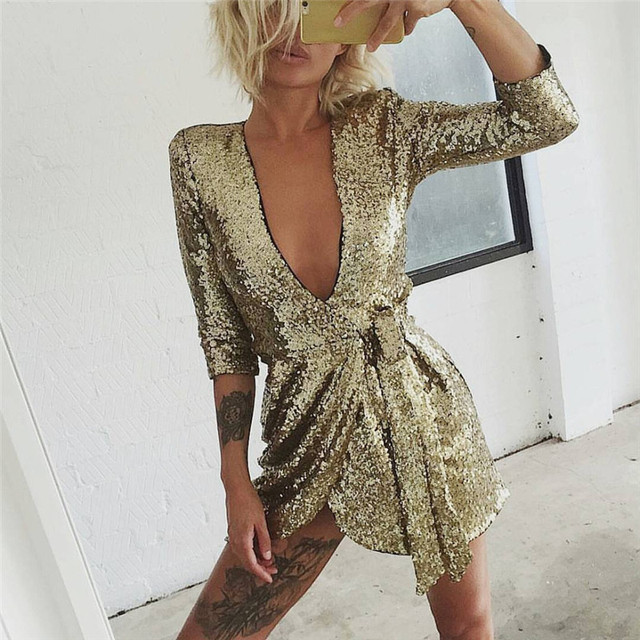 Try Everything Gold Sequin Dresses Women 2018 Summer Deep V Neck Sexy Dress  Club Wear Mini 34ac810daf2f