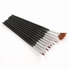10Pcs Black Professional Nail Brushes Nail Art Painting Brush Gel Nail Brush UV Gel Design Pen Painting Brush