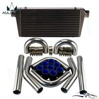 Universal DIY FMIC Turbo Intercooler + 3 76mm Aluminum Piping Hose Clamps Kit
