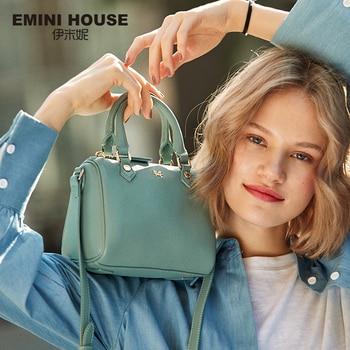 EMINI HOUSE Genuine Leather Boston Bag Crossbody Bags For Women Luxury Handbags Women Bags Designer Split Leather Shoulder Bag Shoulder Bags