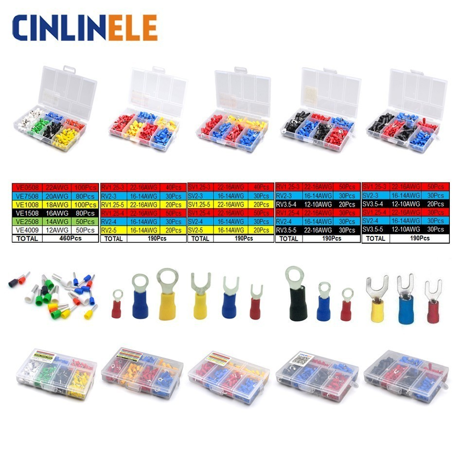 Crimp Terminals Set Fork Spade Bootlace Ring Connector Kit Wire Cable Brass Connector Insulated LED 100pieces 50set crimp male female spade cable terminals nylon flag right angle insulated fast quick wire connector terminator