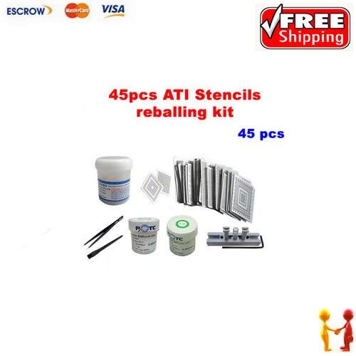 Direct Heat Stencils ATI Video chips 45pcs + leaded solder ball 0.5/0.6mm + ESD tweezer + brush + solder flux + stencils holder agp 8x ati radeon 9550 256mb 128bit video card red