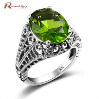Promotion Beautiful Ring Created Gem Peridot 925 Sterling Silver Wedding Rings Vintage Russia USA Holiday Gift