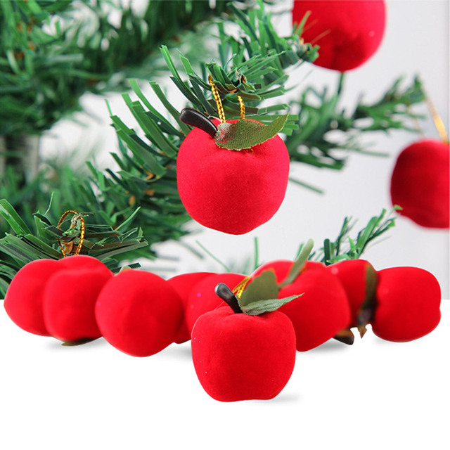 12pcs/bag Christmas decoration gifts Red apple pendant Christmas tree decorations Gift wrapping ornaments Christmas supplies