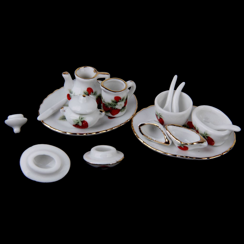 New 46pcs 1/12 Doll House Miniature Dining Ware Porcelain Tea Set Strawberry Pattern ...