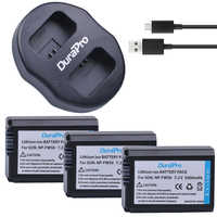 3Pcs NP-FW50 NP FW50 Camera Battery + Dual USB Charger for SONY A5000 A5100 A7R A6000 5T 5C 3N A7 NEX6 NEX7 NEX5TL NEX5R NEX5N