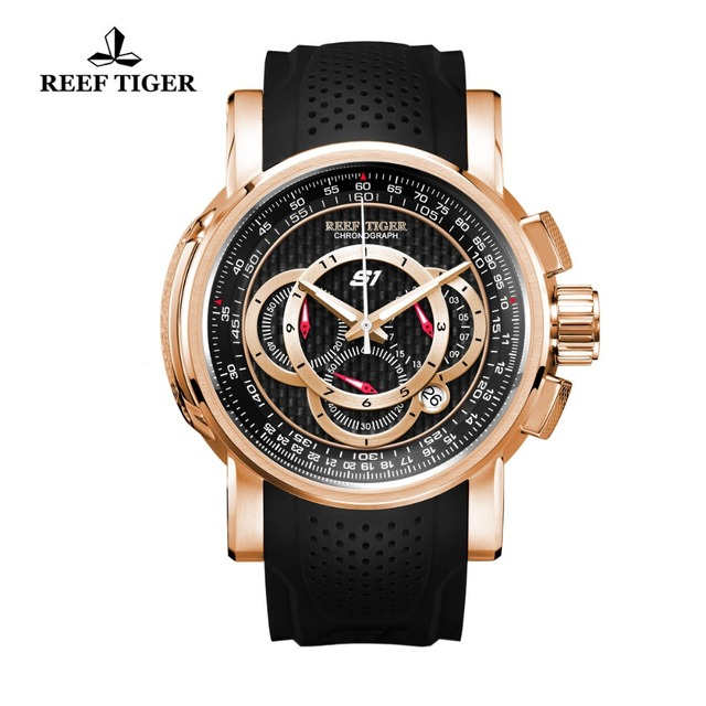 Reef Tiger/RT Designer Sport Watches with Chronograph and Date Rose Gold Quartz Watches Rubber Strap RGA3063
