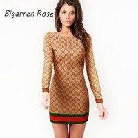 2017 New Fashion Women Brand Printed Dresses O Neck Long Sleeve Dress Sexy Plaid Dress Plus