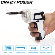 CRAZY POWER 3.6V USB Charge Adjustable Hand Electric Cordless Screwdriver For Battery Power Tools+26 Drill Bits With LED TA0199