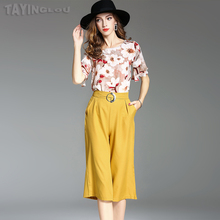 Women Blouses 2017 TaYingLou Summer New Suit Chiffon Printing Flare Sleeve Shirt+Wide Leg Pure Shorts Fashion Female Set 71292