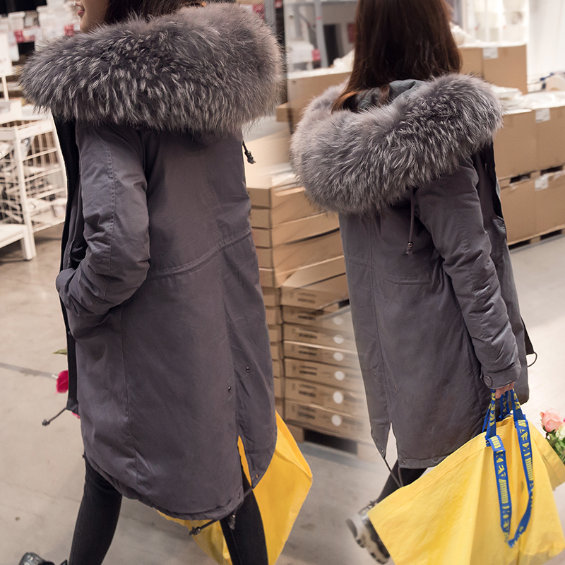 Korea New Fashion Women's Duck   Down     Coat   & Jackets loose maxi long ladies trend parkas large real fur collar hooded grey black
