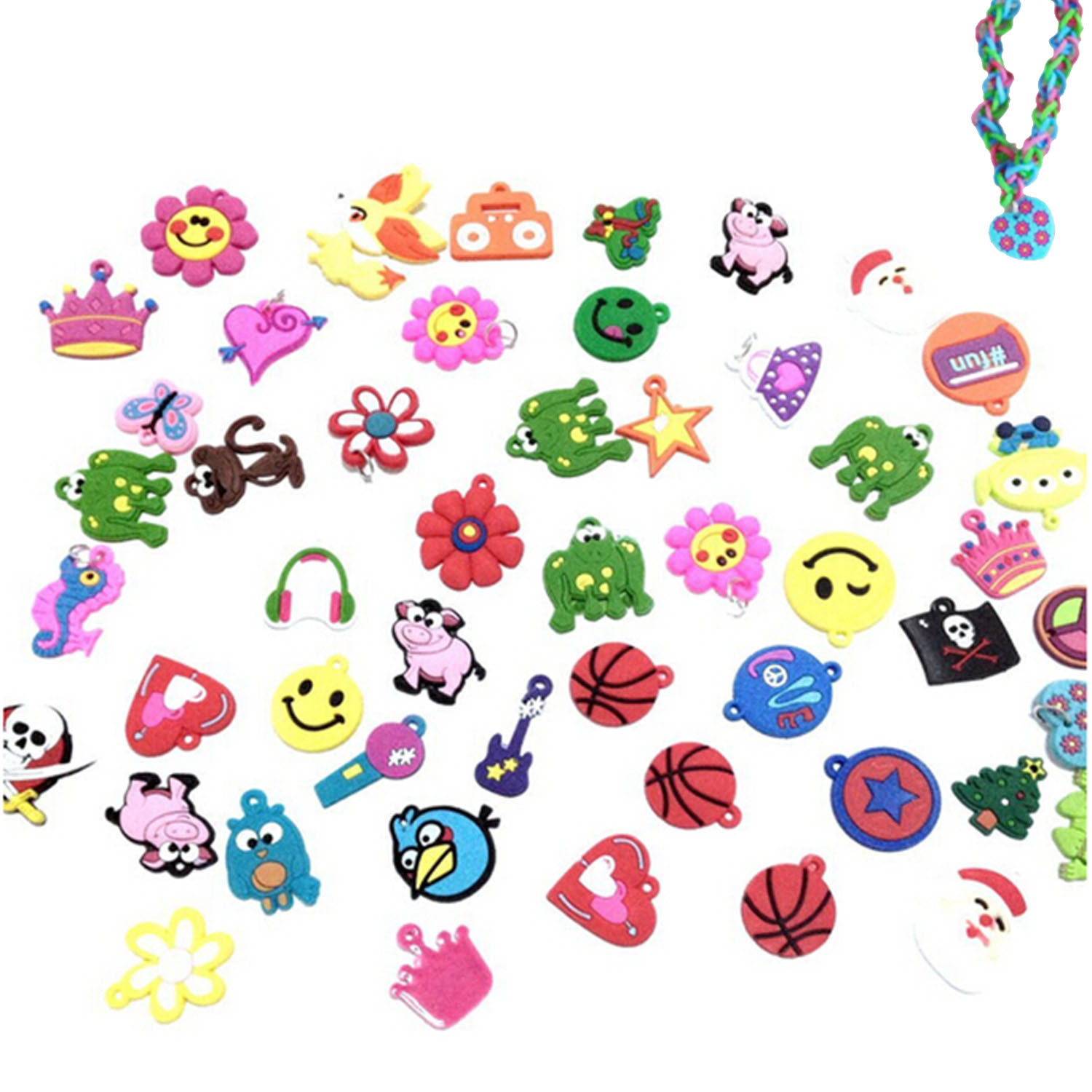 30PCS DIY Colorful Loom Rubber Bands Bracelets Jewelry Making Accessories For Kids Girls Charms Pendants Animal Flower Beads Toy