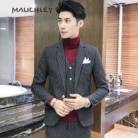 3 Pieces Suits Men Wedding Tuxedo 2018 Latest Coat Pant Designs Pinstripe Suits for Men Slim Fit Blazer With Pants 5XL Plus Size