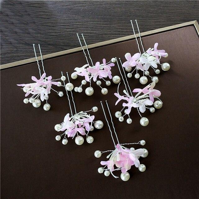 unids elegante floral hair sticks nueva joyera de la perla adornos para el pelo nia