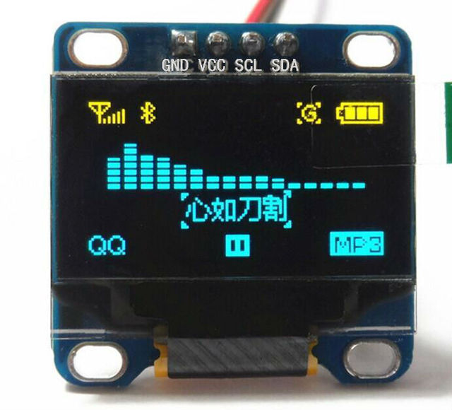 """1Pcs Yellow, blue double color 128X64 OLED LCD LED Display Module For Ard uino 0.96"""" I2C IIC SPI Serial new original"""