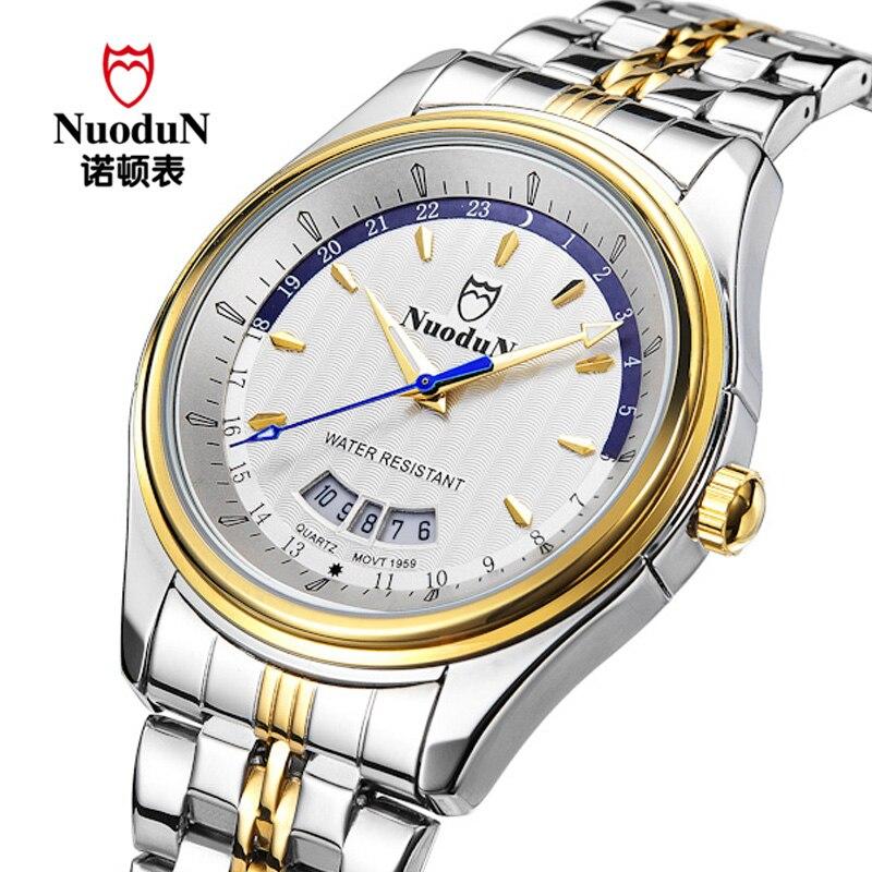9eea55a05b0db NuoduN De Luxe Marque Hommes Montre Or Bracelet En Acier Étanche Entreprise  Montre À Quartz Hommes Horloge reloj hombre Relogio Masculino