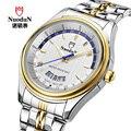 Nuodun marca hombres reloj masculino impermeable de lujo de negocios de acero sport reloj de los hombres reloj de cuarzo hombre reloj relogio masculino